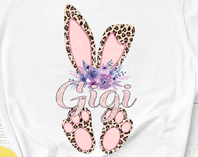 Gigi Cheetah bunny PNG Easter Leopard Print ears and feet with flower Rabbit sublimation digital design Easter clipart printable printing