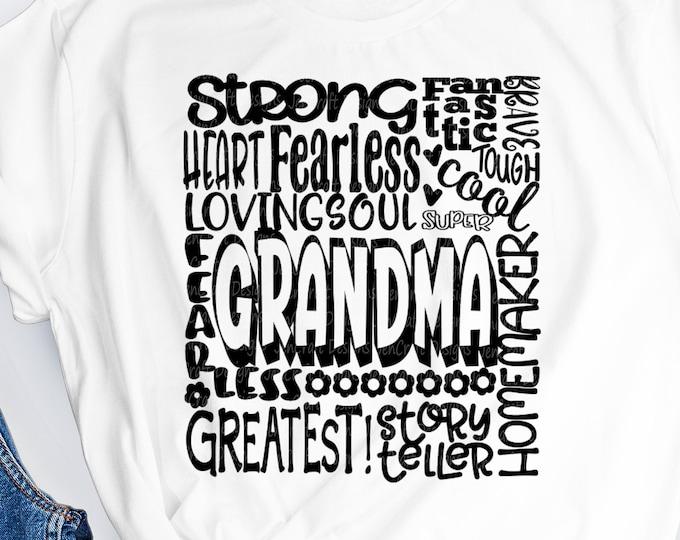 Grandma SVG, Grandmother SVG, typography word art, granny grandma Mothers day Sublimation - Cut File Shirt Design SVG, Eps, Dxf, Png