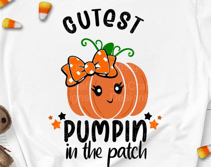 Cutest Pumpkin in the Patch SVG, girl Thanksgiving Design,Fall Cut File, Kids' Halloween Saying, Shirt Quote, dxf eps png Silhouette Cricut
