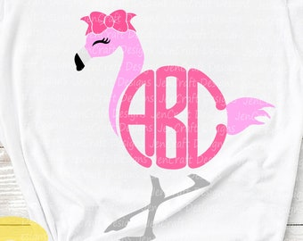 Flamingo Svg Summer SVG Monogram Frame Svg, Kids svg, Beach SVG, DXF, Eps, Png, designs for cricut Shirt Design girls svg Silhouette