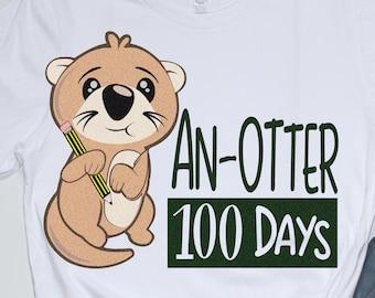100 days svg, Otter svg, 100th day of school svg, Otter Days svg, school, 100 days, SVG, DXF, EPS, 100 days shirt design, girls svg Cricut
