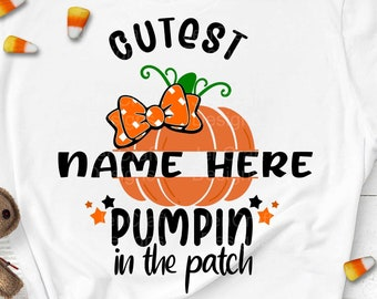 Cutest Pumpkin in the Patch SVG split monogram girl Thanksgiving Design, Fall Cut File Kids' Halloween Saying Shirt Quote,dxf eps png Cricut