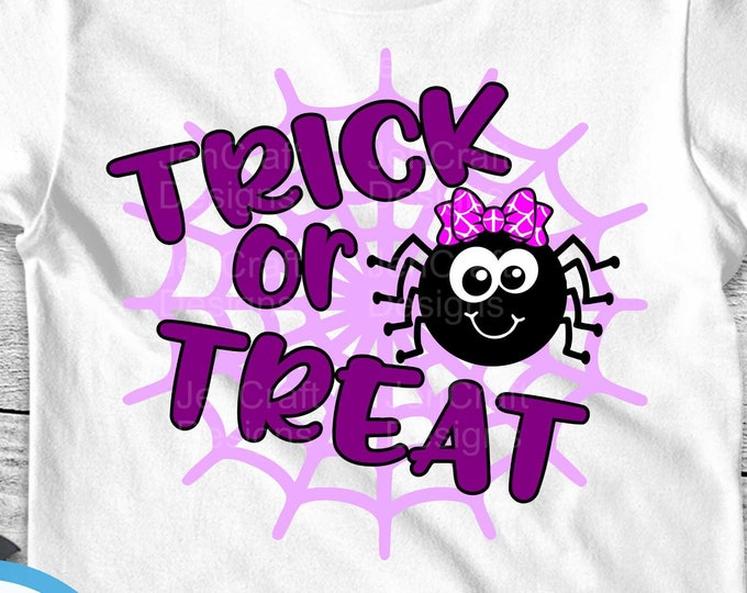 Trick or treat Halloween cute Spider svg, Girl Spider svg Halloween SVG, Spider with Bow SVG, eps, dxf, png cut files for Cricut, Silhouette