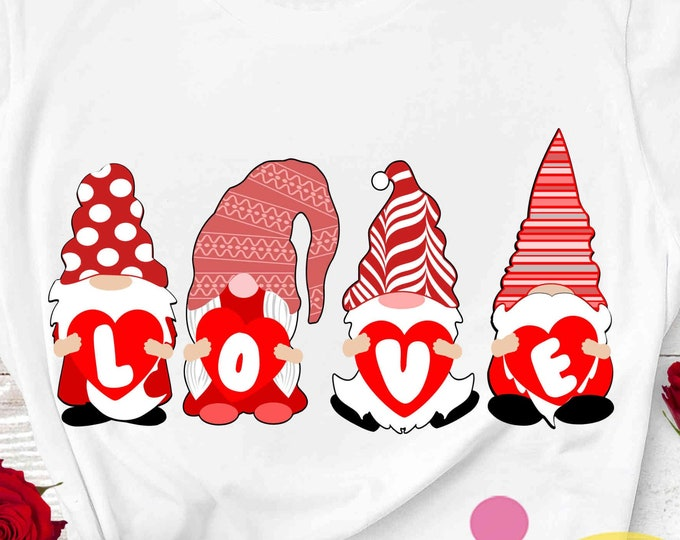 Valentine Gnome SVG, Love svg, Valentine's Day, Gnomes holding hearts Silhouette, Gnome couple Cricut, SVG, Sublimation, PNG, cut file