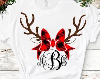 Plaid Reindeer SVG Antler Bow svg Christmas monogram Frames SVG EPS Png Dxf, Cricut, Silhouette, Digital image Cut Files Instant Download
