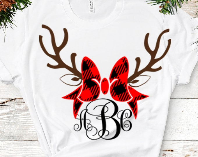 Plaid Reindeer SVG Antler Bow svg Christmas monogram Frames SVG EPS Png Dxf, Cricut, Silhouette, Digital image Cut Files Instant Download