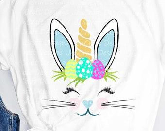 Easter Svg, Bunny Unicorn Svg, Bunnycorn Svg, Easter Bunny Svg file, Face svg, Rabbit ears, Unicorn svg, Eps, DXF, PNG, Cricut, Silhouette