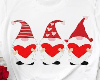 Valentine Gnome svg, 3 Gnomes Holding hearts svg, Valentine svg, Tomte, Nisse Valentines day girls valentine design, valentines day clipart