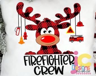 Firefighter Crew Buffalo Plaid Moose SVG, Christmas Svg, Fireman SVG,  Clipart Reindeer Clip Art, Eps  Cut File Png Print Sublimation Design