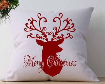 Christmas Reindeer SVG, Merry Christmas SVG, Antlers Deer Head Svg, EPS Png Dxf Silhouette Cricut vector Clip Art graphics Vinyl Cutting