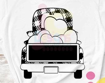 Valentine's day buffalo plaid Truck SVG Antique Vintage truck SVG classic svg Dxf eps png Cut File Silhouette Cricut 4 colors sublimation