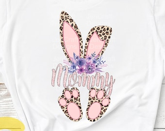 Mommy Cheetah bunny PNG. Easter Leopard Print ears and feet with flower Rabbit sublimation digital design Easter clipart printable printing