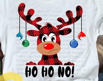 Christmas SVG,  Ho Ho No Buffalo Plaid Moose SVG, Plaid xmas Clipart, Reindeer Clip Art, Svg, Eps  Cut File, Png Print file Sublimation