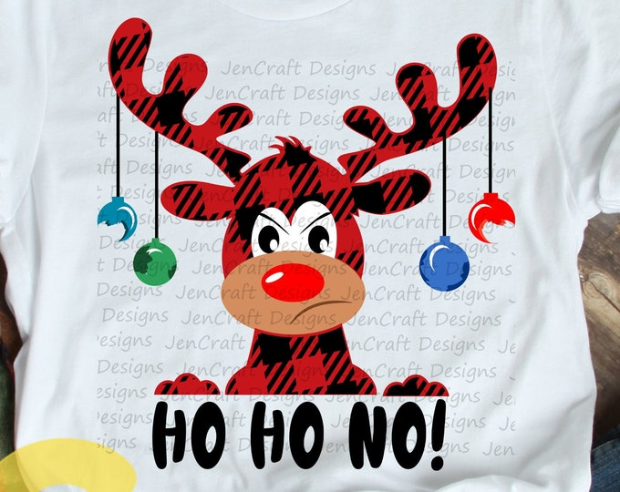 Christmas SVG,  Ho Ho No Buffalo Plaid Moose SVG, Plaid xmas Clipart, Reindeer Clip Art, Svg, Eps  Cut File, Png Print file Sublimation
