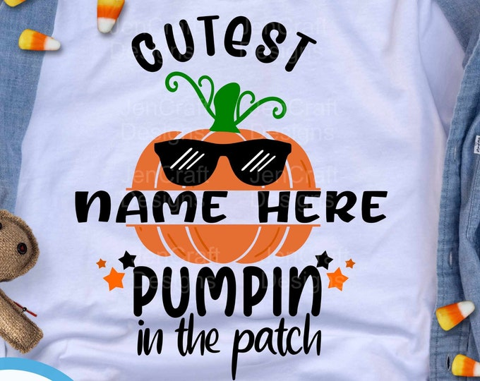 Cutest Pumpkin in the Patch Svg split monogram Thanksgiving Halloween Fall svg baby, Boy Design kids saying svg, eps dxf png cut file circut