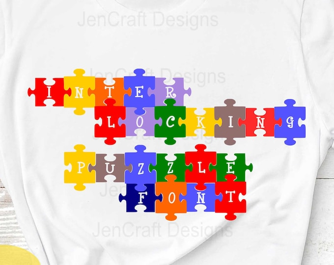 Puzzle Interlocking svg Alpha pack Font, Digital Alphabet and Numbers, SVG Letters Svg Dxf Eps png Cricut, Silhouette, Digital Cut Files