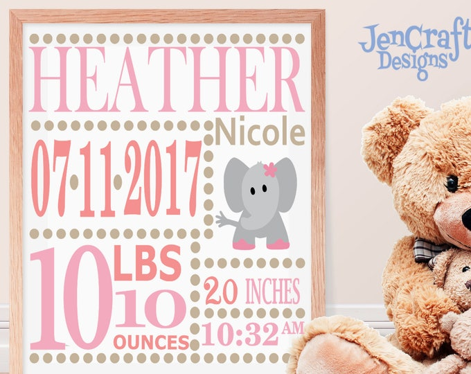 Girl Baby Birth Announcement SVG EPS DXf cut file set with fonts & letters Cricut Design Space Silhouette  Digital Cut Files, Sibling