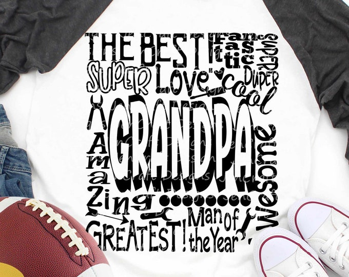 Grandpa SVG, Father's Day SVG, Grandfather typography word art, Super Greatest Man of the year Sublimation Cut File Design SVG Eps, Dxf, Png
