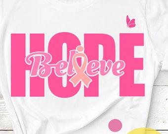 Cancer Awareness Ribbon SVG Believe Hope SVG Survivor Fighter Girl Cut Files -Svg, Eps, Dxf and PNG Cricut Design Space, Silhouette Studio