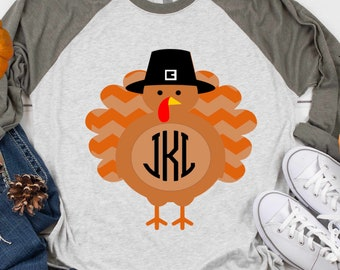 Pilgrim Turkey svg Monogram frame Thanksgiving Turkey Pilgrim Turkey svg, eps, dxf kids printable png Sublimation Cut file Cricut Silhouette