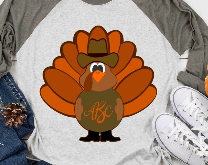 Cowboy Turkey SVG, Monogram Frame Autumn Fall Cut files for Cricut, Silhouette cameo, svg, eps, dxf, png Vinyl Cutters  Layered Cut Files
