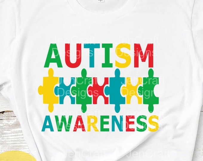 Autism Awareness puzzle SVG, DXF, EPS, Png Puzzle Instant Download cutting files for use with Silhouette Studio and Cricut Design Space.