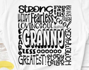 Granny SVG, Grandmother SVG, typography word art, granny grandma Mothers day Sublimation - Cut File Shirt Design SVG, Eps, Dxf, Png