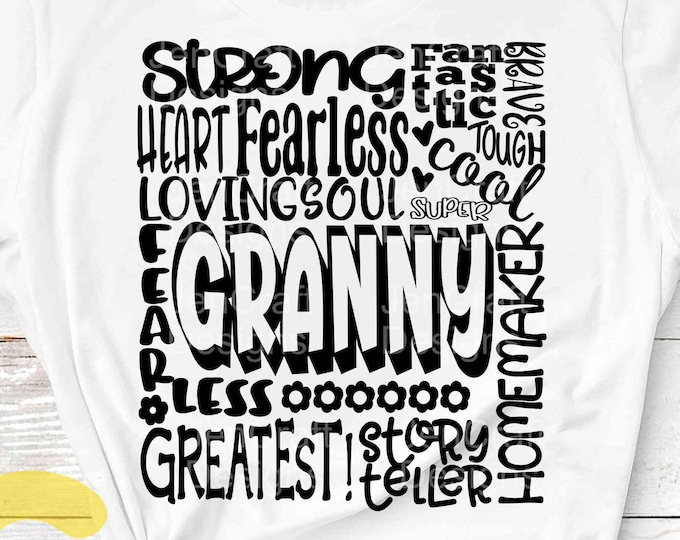 Granny SVG, Grandmother SVG, typography word art, granny grandma Mothers day Sublimation - Cut File Shirt Design SVG, Eps, Dxf, Png