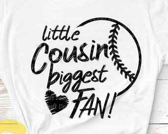 Little Cousin Svg, Baseball SVG Biggest Fan printable Sublimation shirt design Softball T ball Sport Team Sibling cut file brother shirt