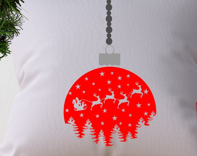 Christmas SVG Ornament Santa Sleigh Tree scene Santa svg santa claus reindeer Svg, Eps, Dxf, Png Cricut Silhouette Cut file design