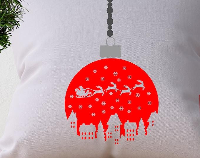 Christmas SVG Ornament Santa Sleigh Village scene Santa svg santa claus reindeer Svg, Eps, Dxf, Png Cricut Silhouette Cut file design