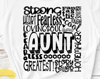 Aunt SVG, Typography word art, Mothers day Sublimation - Cut File Shirt Design SVG, Eps, Dxf, Png
