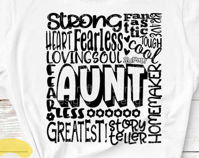 Aunt SVG, Typography word art, Mothers day Sublimation - Cut File Shirt Design SVG, Eps, Dxf, Png