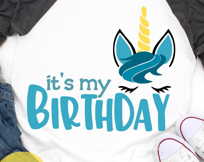 Unicorn svg It's my Birthday Boy Unicorn face svg, Unicorn eyelashes, Sublimation face svg, Eps, Dxf, Png Cricut, Silhouette Cut File