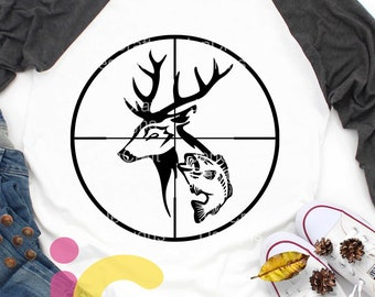 Deer SVG Fish with Deer Gun Sights Crosshairs Antlers Hunting laser Fishing Svg Fathers day Fisherman DAD svg eps dxf PNG Cricut, Silhouette
