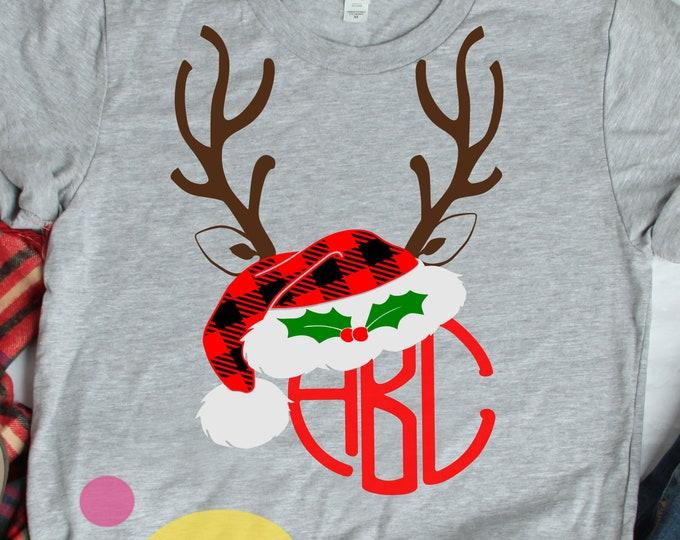 Plaid Antlers Santa Hat Christmas svg, Santa Hat svg Buffalo Plaid Deer Antlers Monogram Frame SVG,  Eps Png  Dxf digital Silhouette Cricut