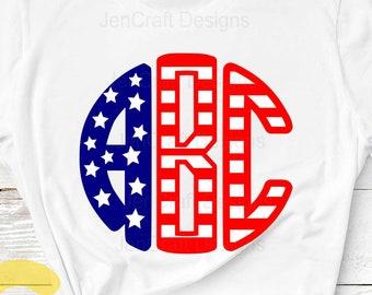 Round Monogram alphabet SVG, US American Flag Pattern Round Font Svg 4th of July SVG Eps Dxf Studio, Silhouette Cricut Ds Alphabet Cut Files