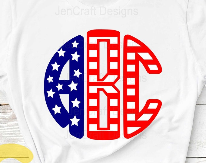 Round Monogram alphabet SVG, US American Flag Pattern Round Font Svg 4th of July SVG Eps Dxf Studio, Silhouette Cricut Ds Alphabet Cut Files