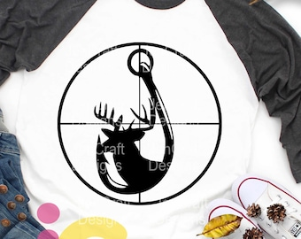 hunter svg Deer and Hook in Gun Sights, Hunting Fishing Crosshairs Dad Fathers day Svg, eps, dxf, PNG Sublimation Cricut Silhouette