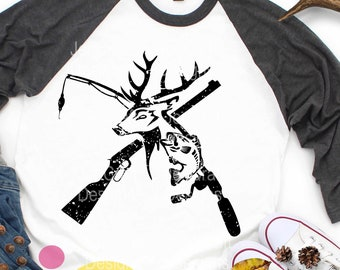 Hunting svg, Distressed Deer Fish, riffle Fishing pole SVG, Fathers Day Grunge Fishing Svg, eps, dxf  PNG  Sublimation Cricut Silhouette