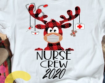 Nurse Crew Buffalo Plaid Masked Reindeer 2020 svg, Moose Christmas Svg RN Clipart Reindeer Clip Art Eps dxf Cut File Png Print Sublimation