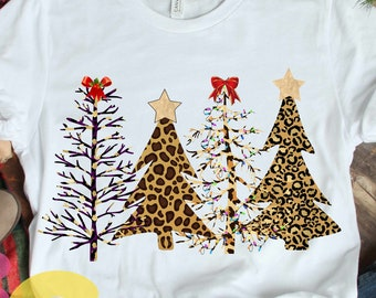 Cheetah Christmas Tree Leopard print Sublimation Design, Wild Christmas PNG Clipart graphic digital Print then Cut 300 dpi transparent png