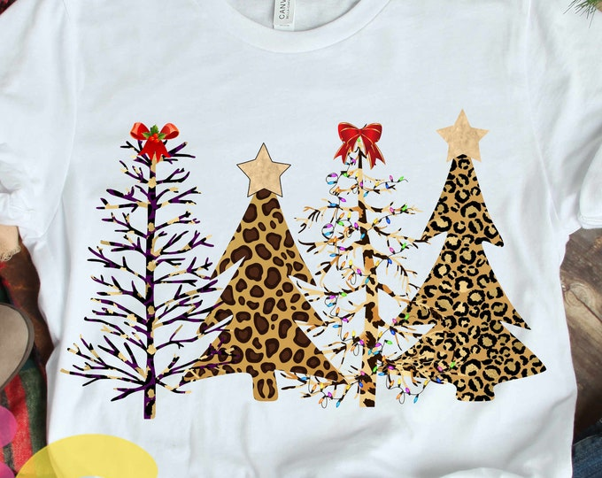 Cheetah Christmas Tree Leopard print Sublimation Design, Wild Christmas PNG Clipart graphic digital Instant download 300 dpi transparent png