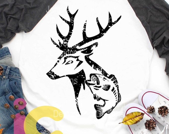 Distressed Deer svg Fish Grunge Hunting Fishing svg, Deer svg, Fish svg, eps, dxf and PNG Format Fishing svg for Cricut and Silhouette