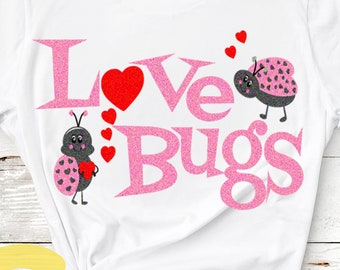 Valentine SVG,  Love Bugs Svg, valentines svg, Lady bug svg, Valentine's Day, Cut files Cricut Silhouette,Instant download svg, eps, dxf