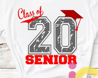 Distressed Class of 2020, Graduation, Grunge Senior High School Graduation, Graduate Graduating Grad Cap Svg Eps Dxf Png Silhouette Cricut