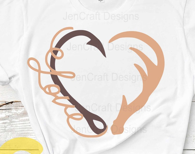 Love Interlocking Hook and Antler svg Heart Fathers day dad hunting fishing Svg, eps, dxf and PNG sublimation Cricut and Silhouette