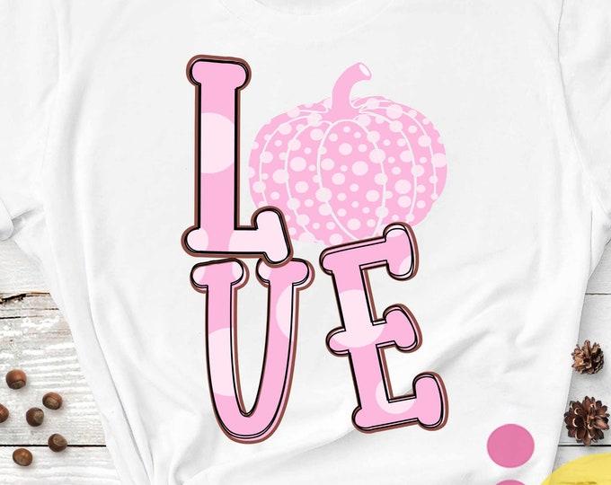 Pink Pumpkin, love fall, transparent PNG file for sublimation, pumpkin PNG, printable, pumpkin shirt design, In October we wear PINK
