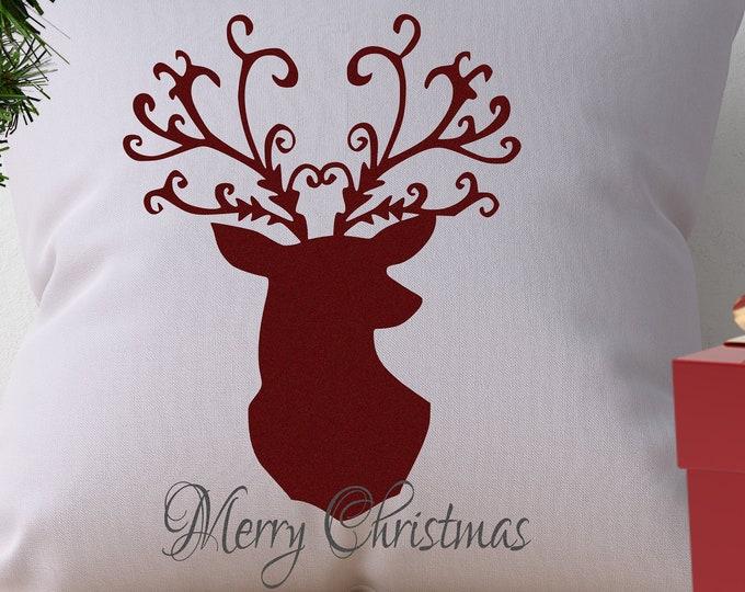 Christmas Reindeer SVG, Layered Merry Christmas SVG, Antlers Deer Head Svg, EPS Png Dxf Silhouette Cricut vector Clip Art Vinyl Cutting