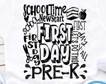 Pre-K Preschool svg Back to School SVG First day svg  school Grade Typography First Day of School svg, Sublimation Png, Student Eps Dxf